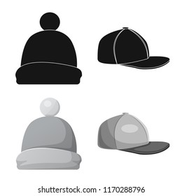 Isolated object of headwear and cap icon. Set of headwear and accessory vector icon for stock.