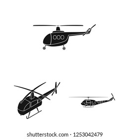 Isolated object of helicopter and vehicle sign. Collection of helicopter and rescue vector icon for stock.