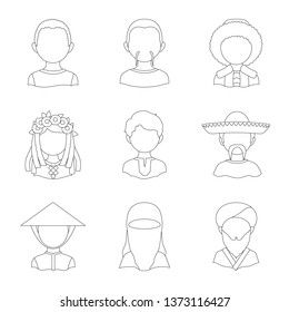 Isolated object of imitator and resident sign. Collection of imitator and culture stock vector illustration.