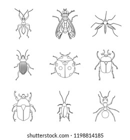 Isolated object of insect and fly logo. Collection of insect and element vector icon for stock.