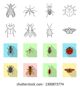 Isolated object of insect and fly logo. Set of insect and element vector icon for stock.