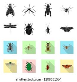 Isolated object of insect and fly symbol. Set of insect and element stock vector illustration.