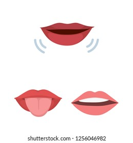 Isolated object of kiss  and smile icon. Collection of kiss  and sexy  stock symbol for web.