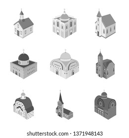 Isolated object of landmark and clergy icon. Set of landmark and religion stock symbol for web.
