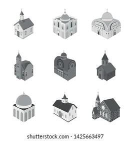 Isolated object of landmark and clergy logo. Set of landmark and religion stock symbol for web.
