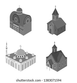 Isolated object of landmark and clergy symbol. Set of landmark and religion vector icon for stock.