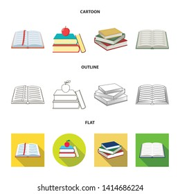 Isolated object of library and textbook icon. Collection of library and school vector icon for stock.