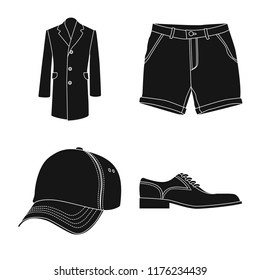 Isolated object of man and clothing icon. Collection of man and wear vector icon for stock.