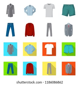 Isolated object of man and clothing symbol. Collection of man and wear stock symbol for web.