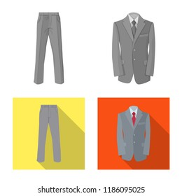 Isolated object of man and clothing symbol. Set of man and wear stock symbol for web.