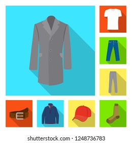 Isolated object of man and clothing symbol. Set of man and wear vector icon for stock.