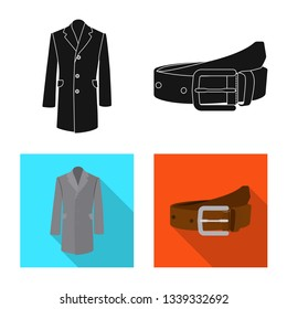 Isolated object of man and clothing symbol. Collection of man and wear stock vector illustration.