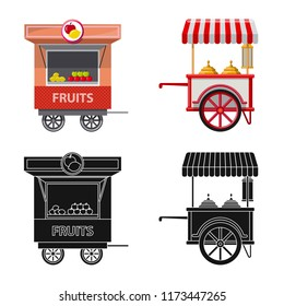 Isolated object of market and exterior sign. Set of market and food vector icon for stock.