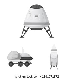 Isolated object of mars and space icon. Set of mars and planet stock symbol for web.