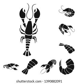 Isolated object of meat and delicacy symbol. Set of meat and crab vector icon for stock.