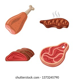 Isolated object of meat and ham sign. Collection of meat and cooking vector icon for stock.