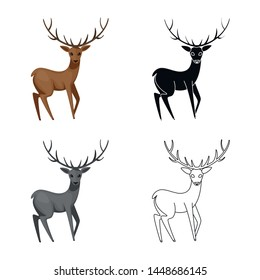Isolated object of moose and animal sign. Set of moose and antler stock symbol for web.