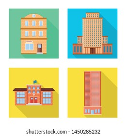 Isolated object of municipal and center logo. Set of municipal and estate stock vector illustration.