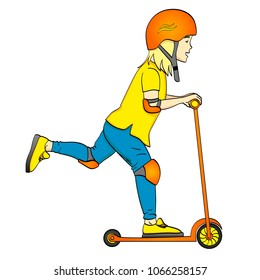 Isolated object on white background child on a kick scooter, push. In special protection, helmet, elbow and knee pads. A blonde girl or a hippie guy vector