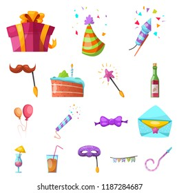 Isolated object of party and birthday symbol. Collection of party and celebration vector icon for stock.