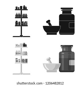 Isolated object of pharmacy and hospital sign. Collection of pharmacy and business stock vector illustration.