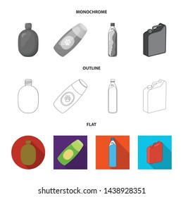 Isolated object of plastic and container icon. Set of plastic and packaging vector icon for stock.