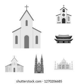 Isolated object of religion and wedding logo. Collection of religion and house  stock symbol for web.