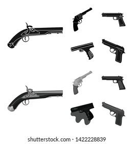 Isolated object of revolver and pistol icon. Set of revolver and trigger vector icon for stock.