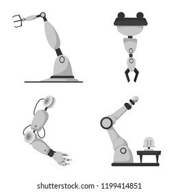 Isolated object of robot and factory sign. Set of robot and space vector icon for stock.