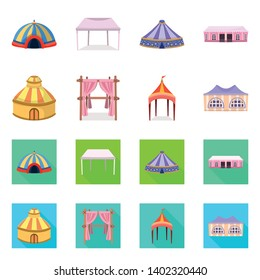 Isolated object of roof and folding logo. Collection of roof and architecture stock vector illustration.