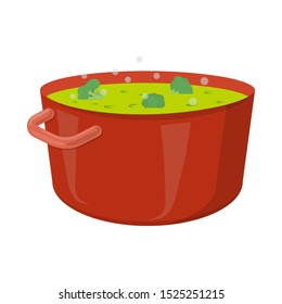 Isolated object of saucepan and broccoli icon. Web element of saucepan and vegetable vector icon for stock.