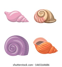 Isolated object of seashell and mollusk sign. Set of seashell and seafood vector icon for stock.