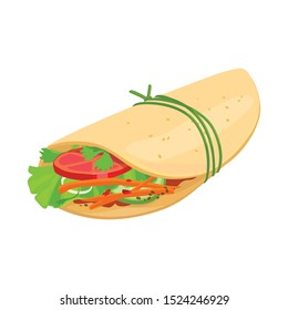 Isolated object of shawarma and food logo. Web element of shawarma and ham vector icon for stock.