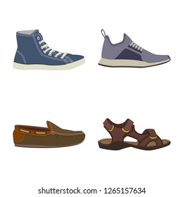 Isolated object of shoe and footwear icon. Collection of shoe and foot vector icon for stock.