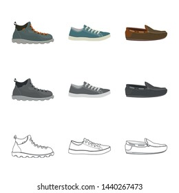 Isolated object of shoe and footwear icon. Collection of shoe and foot stock vector illustration.