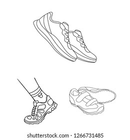 Isolated object of shoe and sport symbol. Set of shoe and fitness stock symbol for web.