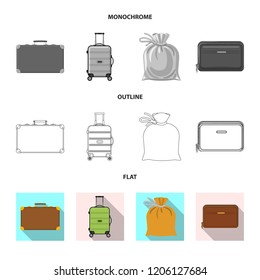 Isolated object of suitcase and baggage icon. Collection of suitcase and journey vector icon for stock.