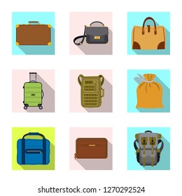 Isolated object of suitcase and baggage symbol. Collection of suitcase and journey stock symbol for web.