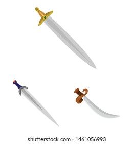 Isolated object of sword and dagger logo. Set of sword and weapon vector icon for stock.