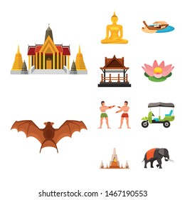 Isolated object of thailand and travel sign. Collection of thailand and culture vector icon for stock.