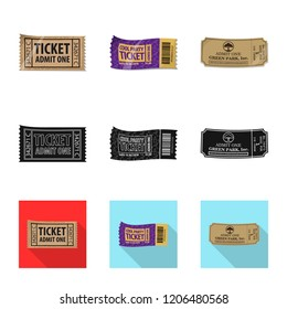 Isolated object of ticket and admission logo. Set of ticket and event stock vector illustration.