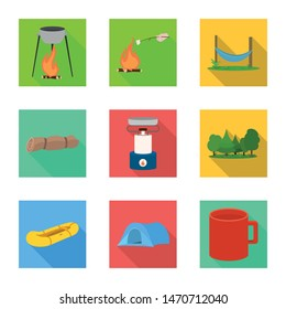 Isolated object of tourism and excursions icon. Collection of tourism and rest vector icon for stock.