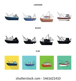 Isolated object of transport and industrial logo. Set of transport and yacht vector icon for stock.