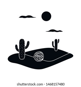 Isolated object of tumbleweed and cactus icon. Collection of tumbleweed and west stock symbol for web.