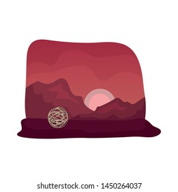 Isolated object of tumbleweed and rock logo. Set of tumbleweed and dry vector icon for stock.