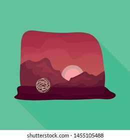 Isolated object of tumbleweed and rock logo. Collection of tumbleweed and dry vector icon for stock.
