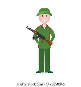 Isolated object of Vietnamese and soldier symbol. Collection of Vietnamese and man stock vector illustration.