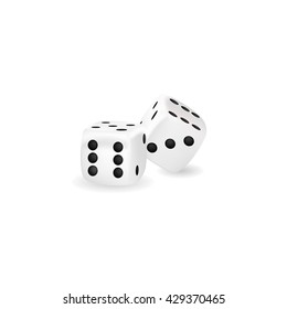 Isolated object. White dice on a white background. Realistic object.