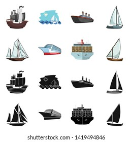 Isolated object of yacht and ship logo. Set of yacht and cruise stock vector illustration.