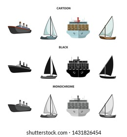 Isolated object of yacht and ship logo. Collection of yacht and cruise stock symbol for web.